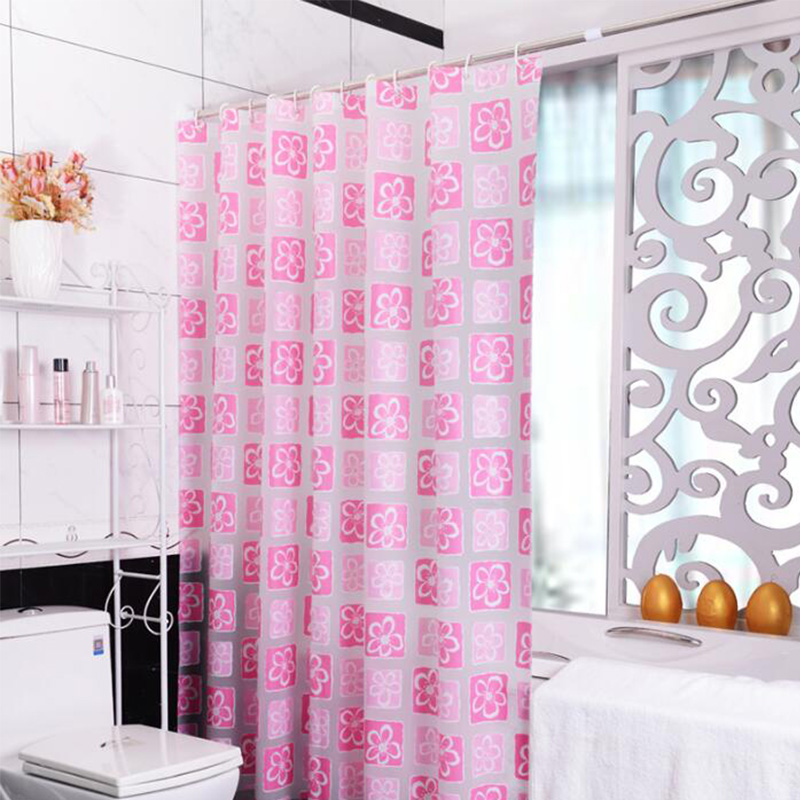Pink Peva Shower Curtains Flower Printed Waterproof Thick Bath Curtain Hooks Eco Friendly Home