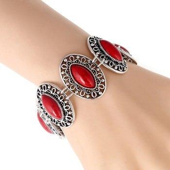 LOVBEAFAS mode ethnique bohème Bracelets & Bracelets pour femmes rouge bleu pierre Vintage plage Boho réglable Bracelets bijoux