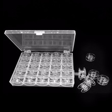 Transparent Clear Storage Empty Box 25 Grids Sewing Machine Thread Organizer with Bobbins Tools