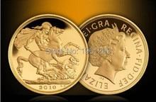 Big Size Ontwerp!! Gratis Verzending 20 Stks/partij 1Oz 24K Elizabeth Ii Uk Britse Gouden Munt, 2010 St George Doden Dragon Gold Clad Coin