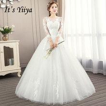 Its YiiYa Wedding Dresses 2019 Fashion Feathers Embroidery O-neck Floor-length Elegant Bridal Gowns De Novia Casamento AL009