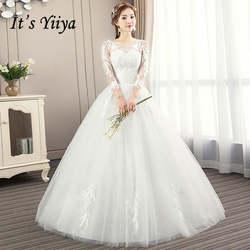 Это YiiYa Свадебные платья 2019 мода перья вышивка с круглым вырезом длиной до пола Свадебное платье Элегантное Novia Casamento AL009