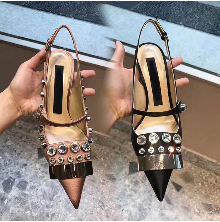 Heel 8 Pointed Lady Silk 99 50Off Release In Crystal Pumps Shoe Close Thin High Sandal New Metal Decoratation Cm Us69 Single Toe 5 women TK3cFl1J