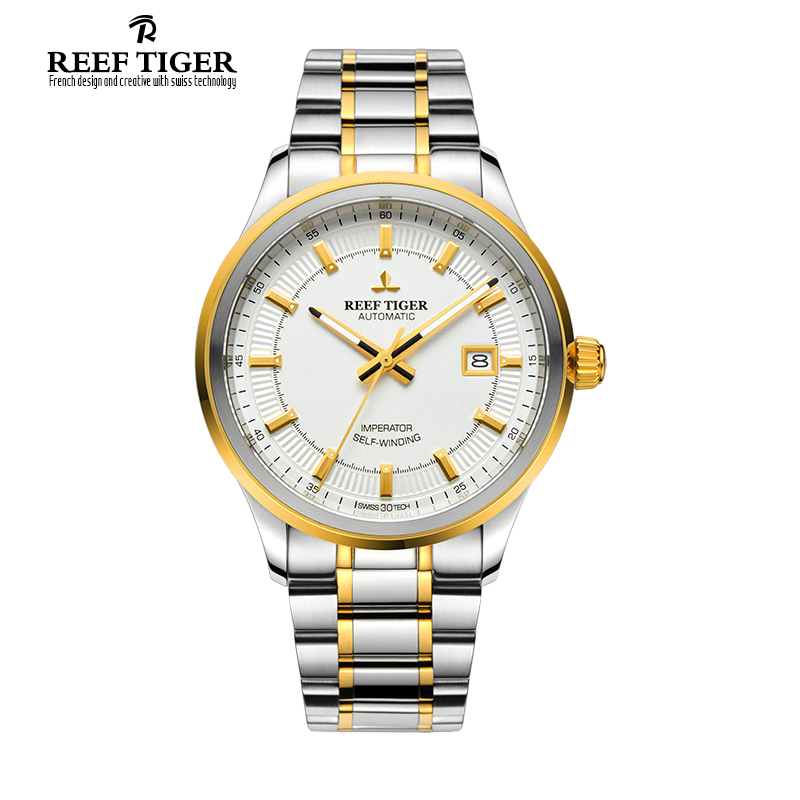 Reef Tiger/RT Watch Business Designer Watches For Mens Automatic Dress Watch With Date Steel/Yellow Gold Super Luminous RGA8015 reef tiger designer fashion diamonds automatic watch with white mop dial steel watches for women rga1550