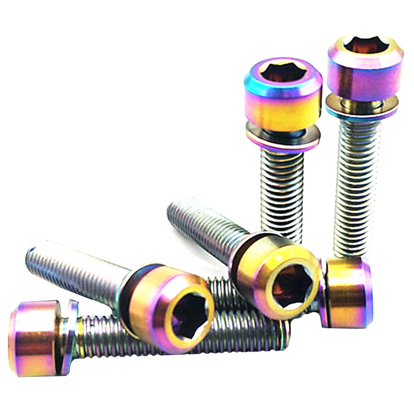 Titanium Bolt for SHIMANO M6 x16-30mm Crank Lock Ti Bolts Column Head with Washer Gold Color Titanium Screws Ti Fastener 4/6pcs Titanium Bolt for SHIMANO M6 x16-30mm Crank Lock Ti Bolts Column Head with Washer Gold Color Titanium Screws Ti Fastener 4/6pcs