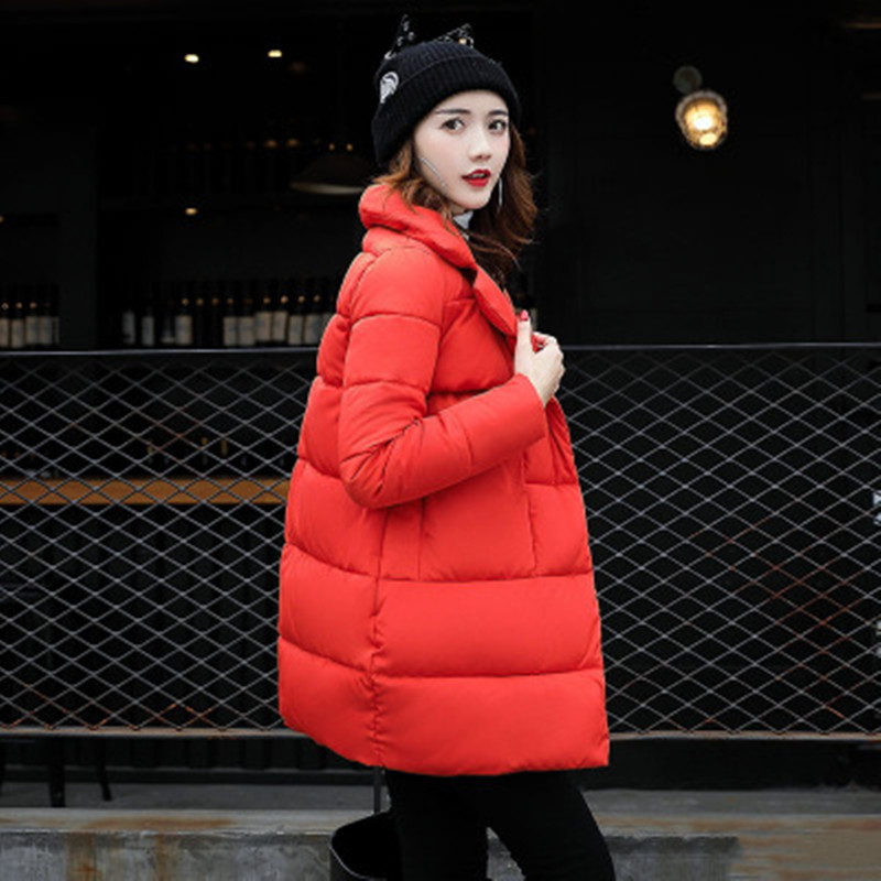 2017 Winter Maternity Cotton Fabric Coats Fashion Womens Loose Thicker Long Jackets Windproof Black Pink Red Girls Clothes Sale