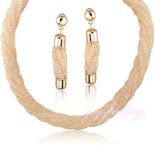 Mytys Envolvente diseño De La Joyería de oro de malla neto Cubic Circón Collar y aretes para las mujeres N986