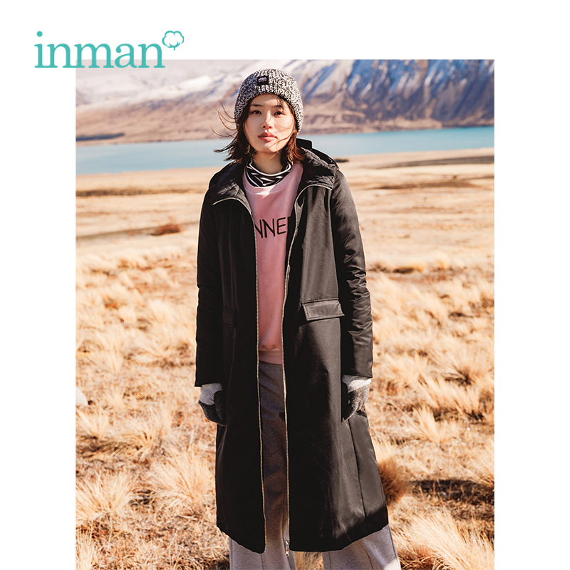 INMAN 2018 Winter New Arrival Causal Style Black Hoody Loose Style Simple Design Wind Proof Long   Down     Coat