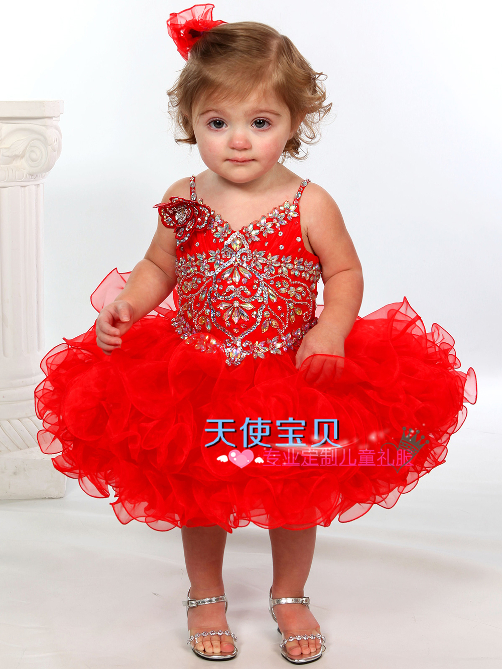 59ae5241e08c Angel Baby new red dress baby girls under the age of festival ...