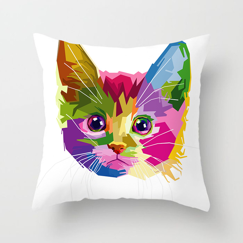 Home & Garden Cushion Cover Colorful Animal Cushion Cover Lovely Cat Dog Giraffe Zebra Lion Pillow Cover Polyester Pillow Case Home Decor Be Friendly In Use