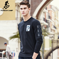 Pioneer camp marca hoodies homens moda preto homens camisola hoodies moletom masculino top quality casual elastic slim fit 622208