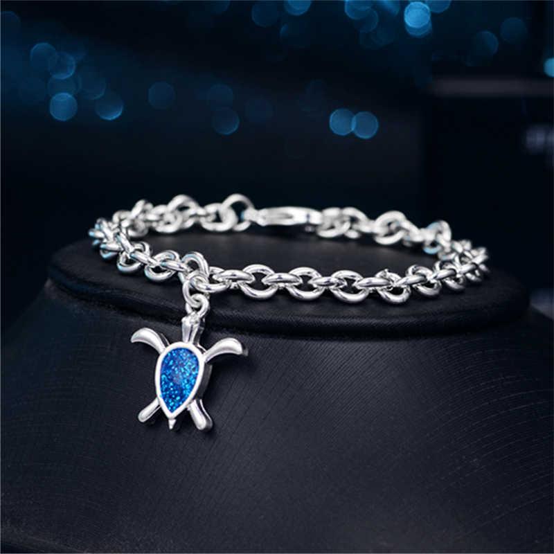 جميل الغراء قطرة الأزرق أوبال السلاحف شكل أساور فام حلية للنساء اللون سلسلة ربط سلسلة اليد مجوهرات هدايا الزفاف