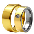 ( 2pcs/Lot ) Tungsten Carbide Wedding Band CZ Stone Ring Set Comfort Fit Gold Plated Couple Lover's Alliance Jewelry TU065RC