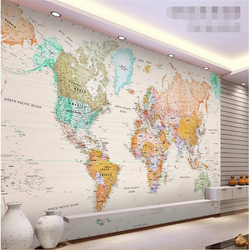 Beibehang на заказ Фреска шелковая ткань 3d обои для комнаты элегантный светильник цветная версия карты мира фото обои для стен 3d