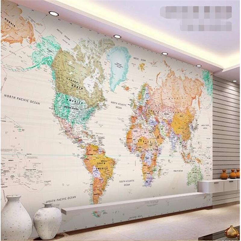 beibehang custom mural silk cloth 3d room wallpaper Elegant light colour version of the map world photo wallpaper for walls 3d
