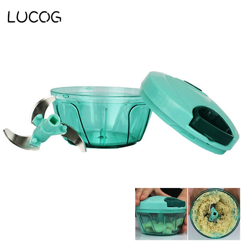 LUCOG Powerful Manual Meat Grinder Hand-power Food Chopper Mincer Mixer Blender to Chop Meat Fruit Vegetable Nuts Herbs hand cranked kitchen twisting vegetable fruit meat chopper blender tool green
