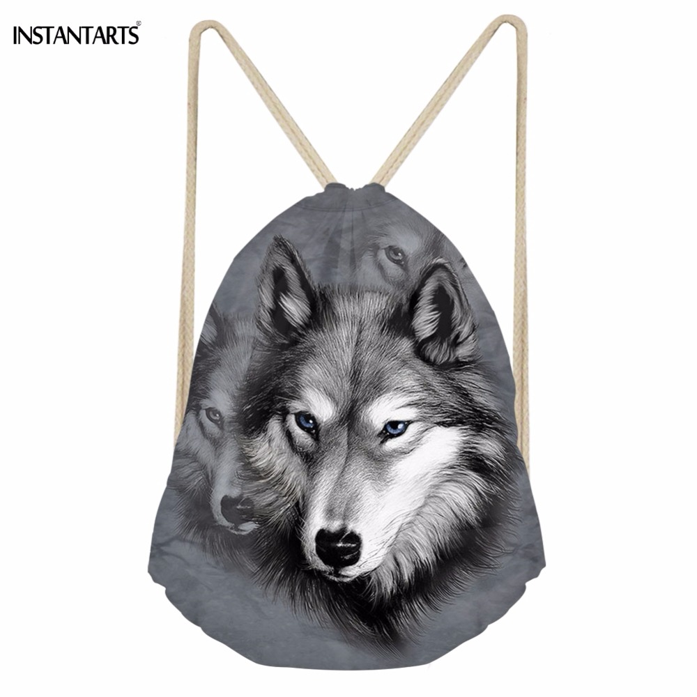 INSTANTARTS Casual Women Men Drawstrings Bags 3D Animal Wolf Print Storage Backpacks Softback Travel Beach Bag For Teenage Boys