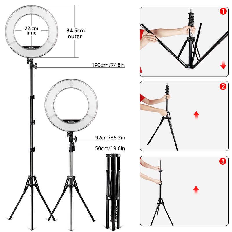 ไฟ LED 14 นิ้วหรี่แสงได้ 5500K ringlight ขาตั้งกล้องสำหรับสตูดิโอหลอดไฟการถ่ายภาพ YouTube Photo แต่งหน้าวงกลม LIGHT