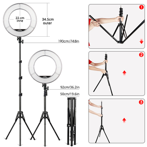 Image 3 - Travor ring lamp 14 Inch Ring Light With Tripod Dimmable 5500K rim of light For Photography lighting YouTube make up ring lamps