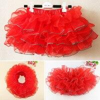 Hot koop 2 T-10 T kids meisje dance tutu rok tule tutu peuter meisje chiffon pettiskrit 3 Kleur paars, groen, roze, rood. geel
