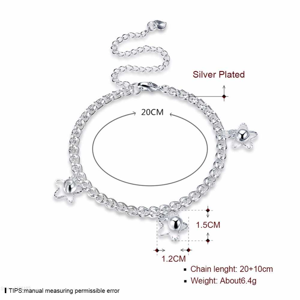 925 tłoczony posrebrzane bransoletka kostki femme tornozeleira pulsera joyas, słodkie gwiazda dzwon obrączki dla kobiet dziewczyny prezent biżuteria