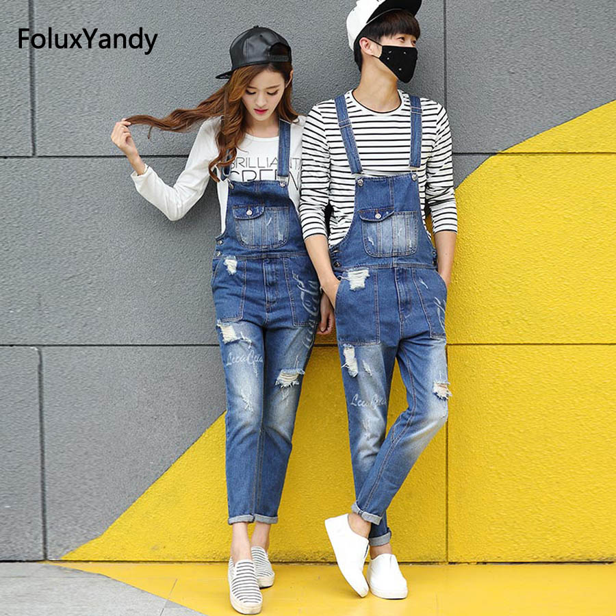 Boyfriend Jeans Men's Ripped Jeans Casual Front Pocket Blue Denim Overalls Male Suspenders Bib Jeans Jumpsuit OR05 new male suspenders new casual light blue denim overalls ripped jeans pockets men s bib jeans boyfriend jumpsuits