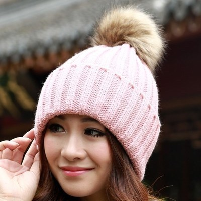 2016 New Hat Female Classic  Knitted Faux Fur Pom Poms  Women Cap  Headdress Head Warmer Women's Winter Hats Skullies Beanies