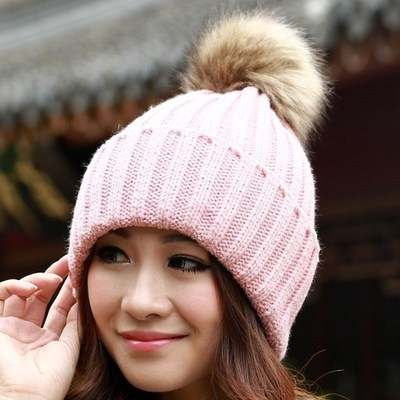 2018 New Faux Fur Pompoms Hat Female Warm Thick Cap Women s Winter Knitted  Hats Solid Color fe483c0876d2