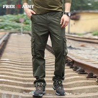 FreeArmy Brand New Fashion Mens Pants 2016 Brand Male Trousers Casual Pockets Solid Sweatpants Cargo Pants Men Size 42 MK-7160A