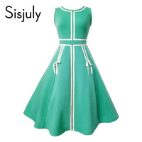Sisjuly 1950s Vintage Dress Women Summer Green Lace Up Sleeveless A Line Party Mid Calf Elegant