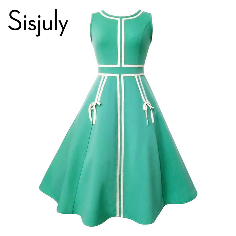 Sisjuly 1950s vintage dress women summer green lace up sleeveless a line party mid-calf elegant female vintage dresses new 2017