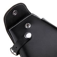 Barber Tool Bag Hairdressing Scissors Holster Waist Pack Salon Soft Leather Scissor Comb Bag with Waist Shoulder Belt Black