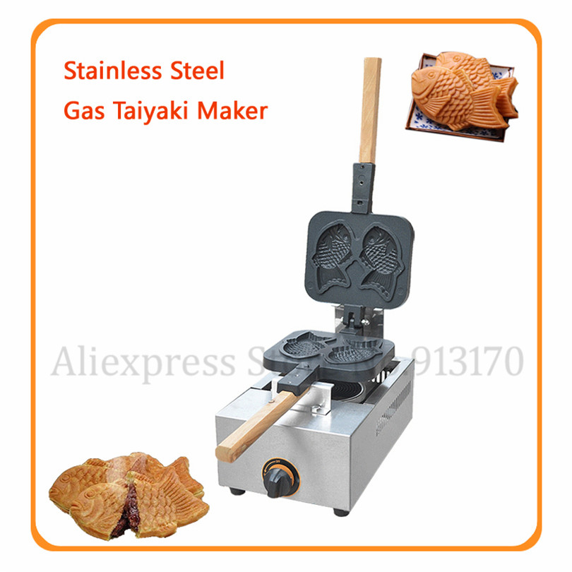 Gas Taiyaki Waffle Maker Stainless Steel Japanese Style Fish Shape Cake Machine 2 Molds in One Non-stick Cooking SurfaceGas Taiyaki Waffle Maker Stainless Steel Japanese Style Fish Shape Cake Machine 2 Molds in One Non-stick Cooking Surface