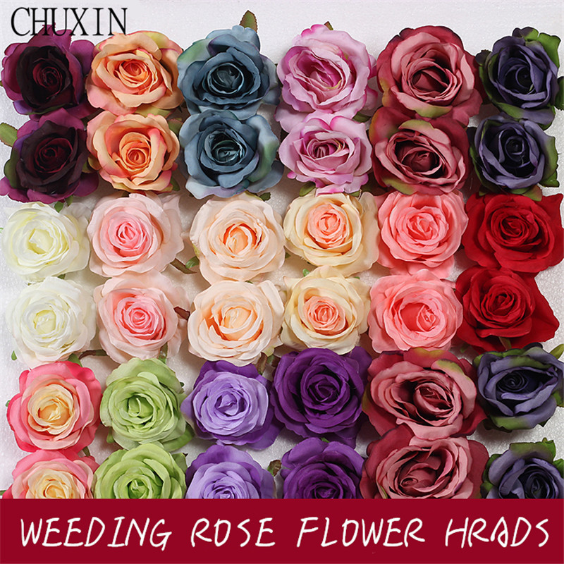 9 Color 9CM Rose Artificial Fake Flower High Quality Wedding Wall Dried Flowers