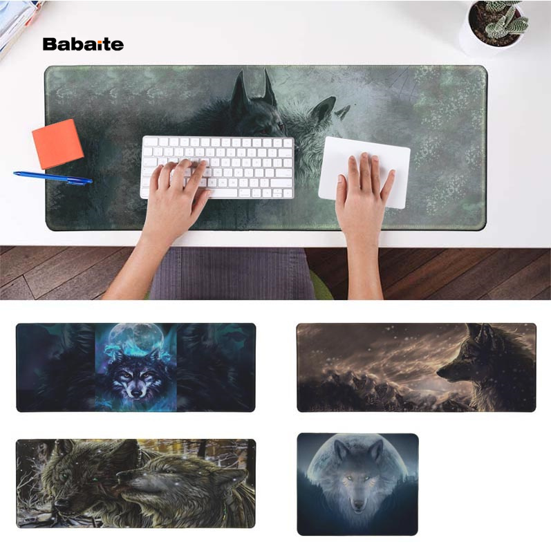 Babaite 2018 New <font><b>White</b></font> <font><b>And</b></font> <font><b>Black</b></font> Wolf Durable Rubber <font><b>Mouse</b></font> Mat <font><b>Pad</b></font> Rubber PC Computer Gaming mousepad image