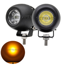 1 Pair 20W 2 Inch LED Work Light Bar Spot Beam White/Amber Fog Light Round Driving Light for Motorcycle SUV ATV Bike Truck Boat