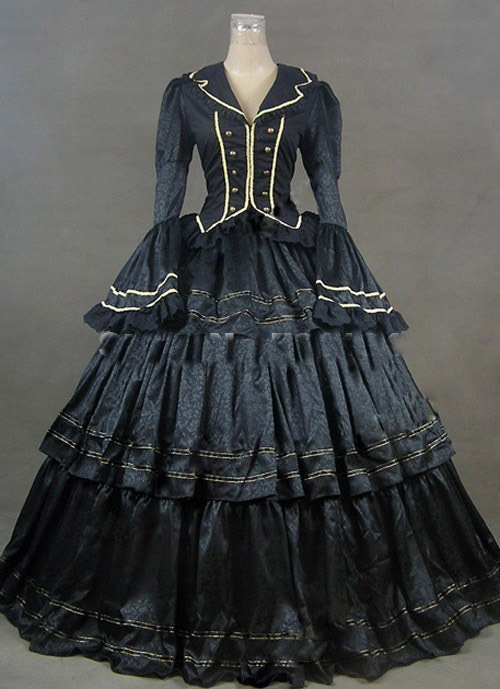 2014 Black Vintage Royal Gothic Victorian Steampunk Dress