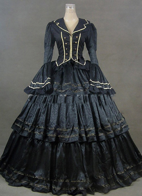 2017 Black Vintage Royal Gothic Victorian Steampunk Dress Gown Civil War Era Ball For