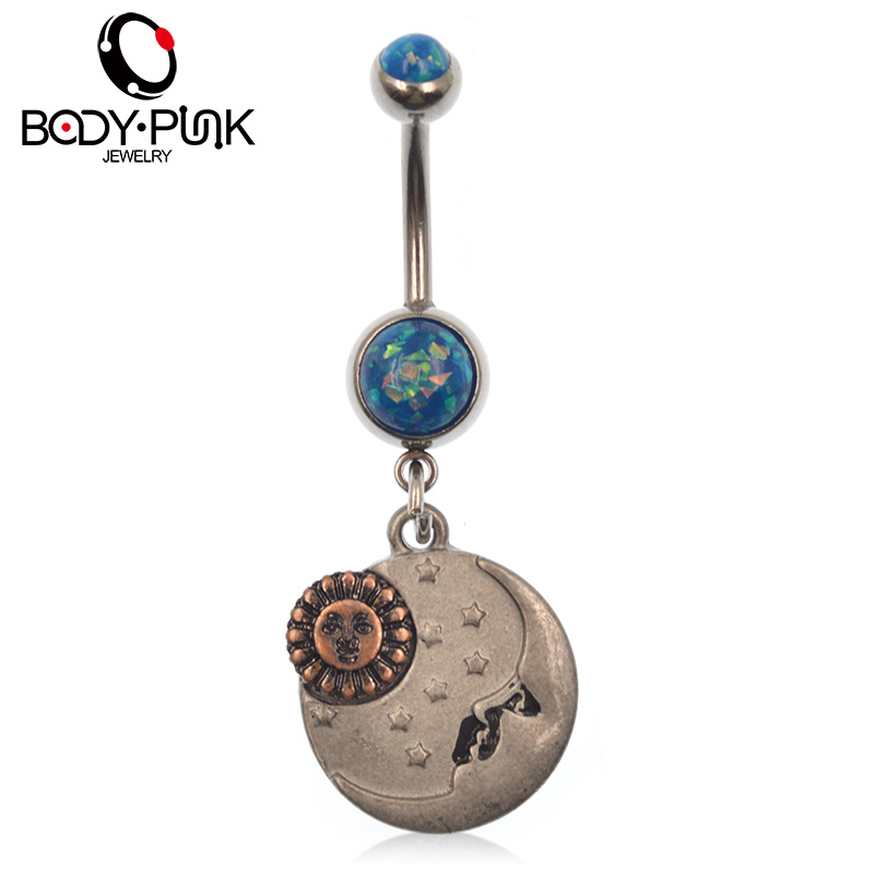 Us 3 26 31 Off Body Punk Belly Button Rings Sun Moon Stainless Steel Blue Opal Dangle Navel Ring 1 6 16 45mm For Women Body Piercing Jewelry On