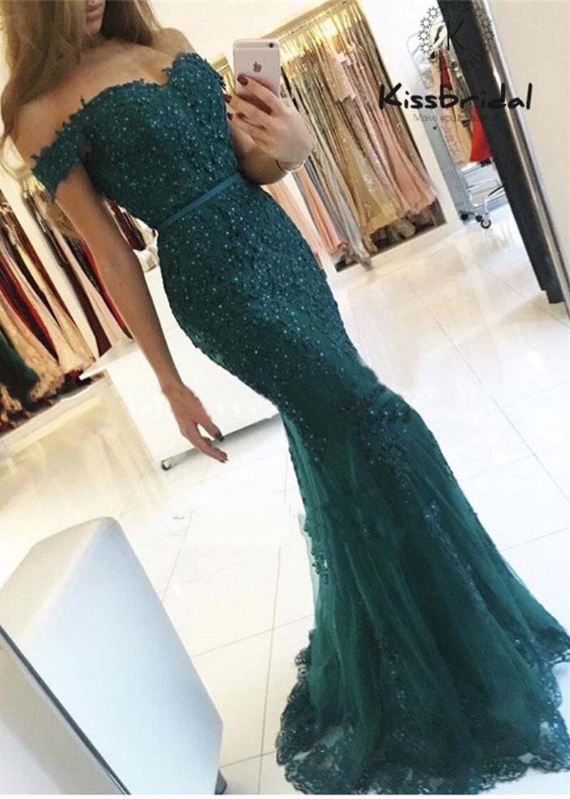 Mermaid   Evening   Gowns 2018 Sexy Off Shoulder Green Prom   Dress   Long   Evening     Dresses   V Neck Robe De Soiree Avondjurk