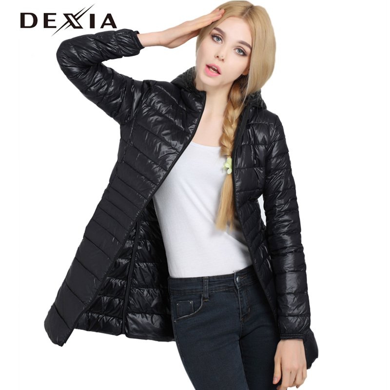DEXIA 2018 Winter Black Coat Women Thin Outerwear Slim Hooded 90% White Duck Down Long Jacket   Parka   Warm Coats Clothes Femme