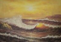 Pintados À mão Pintura Abstrata Moderna Da Paisagem Da Lona Seascape Oceano Onda Sae Luz Do Sol Pintura Parede Pictures para Sala de estar