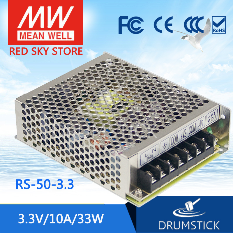 Advantages MEAN WELL original RS-50-3.3 3.3V 10A meanwell RS-50 3.3V 33W Single Output Switching Power Supply [freeshipping 1pcs] mean well original rs 25 15 15v 1 7a meanwell rs 25 25 5w single output switching power supply