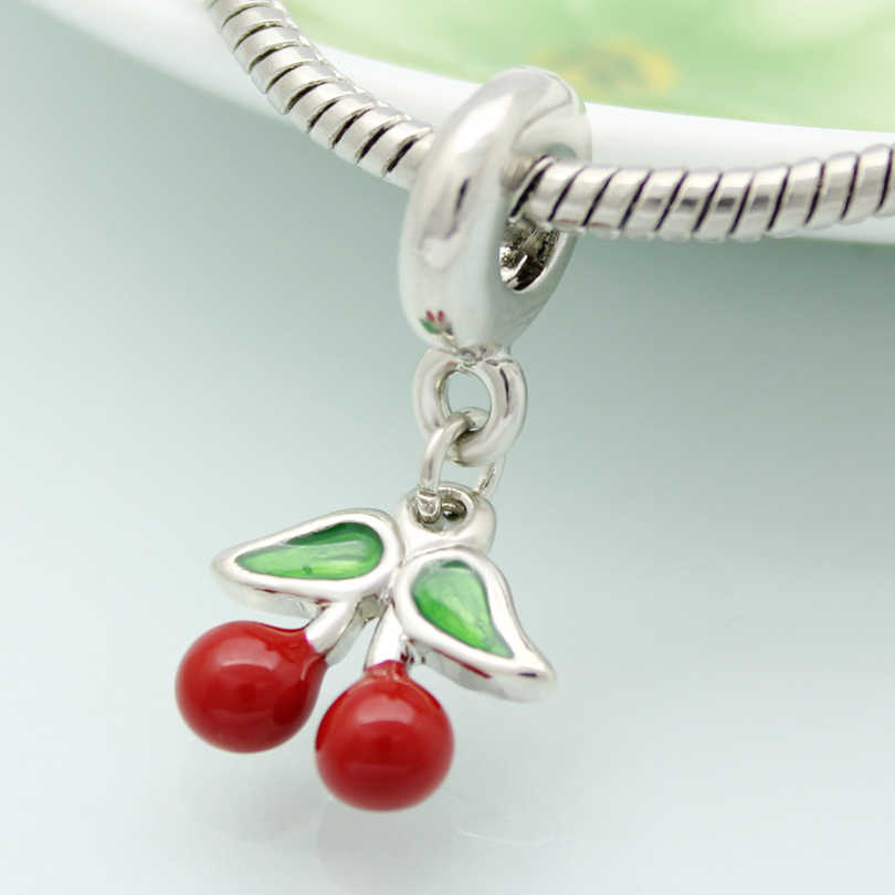 b8934dbc0 ... Cherry pendant charm beads red & green enamel amulet original brand  jewelry design Fit Pandora Bracelet