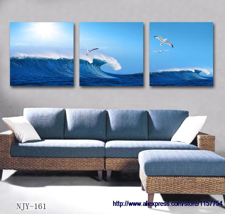Free shipping modern home decor canvas art blue abstract painting on canvas sea art wall decor painting wall frame decorative