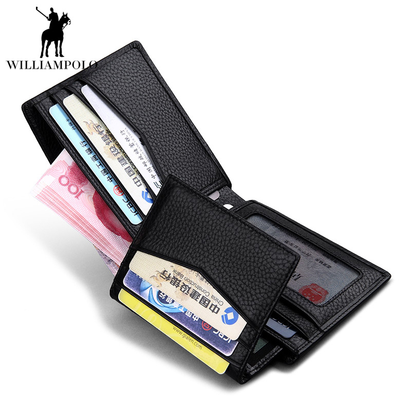 2017 NEW Black Genuine Real Leather Wallets Mens Coins Pocket Solid Short Card Holder Designer Purses Dollar Price Pouch Cartera mens wallets black cowhide real genuine leather wallet bifold clutch coin short purse pouch id card dollar holder for gift