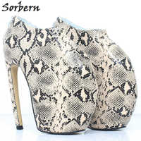 Пикантные туфли на платформе и высоком каблуке из питона, альтернативная мода, женские туфли лодочки с круглым носком, обувь для показа