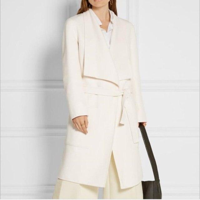 2019 automne hiver blanc cachemire manteau femmes mode revers longue ceinture taille laine mélange manteaux longue veste