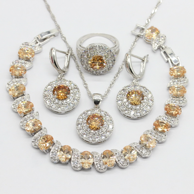 Orange Cubic Zirconia 925 Sterling Silver Jewelry Sets Necklace Pendant Earrings Bracelet For Women Free Gift Box