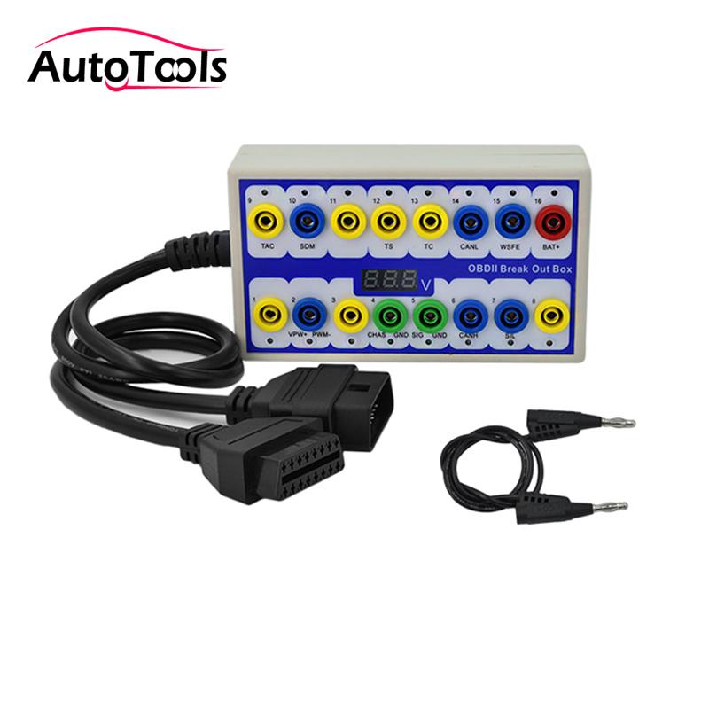 Newest 16pin car obd2 Breakout box Car Protocol detector test box car accessories kit via free shipping